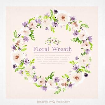 Couronne florale d'aquarelle