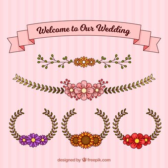 Couronnes de mariage et ruban