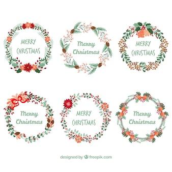 Couronnes florales de Noël avec un beau style