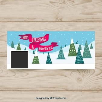 Couverture de Facebook avec des arbres de Noël