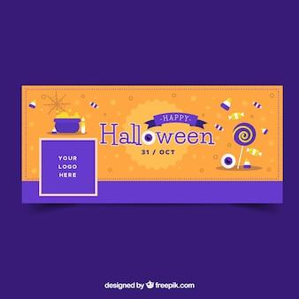 Couverture de Facebook avec des bonbons de Halloween