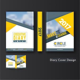 Couverture de journal géométrique avec des formes jaunes