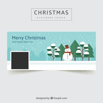 Couverture Facebook avec bonhomme de neige au design plat