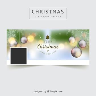 Couverture Facebook avec des boules de Noël