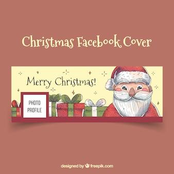 Couverture facebook vintage avec le père Noël