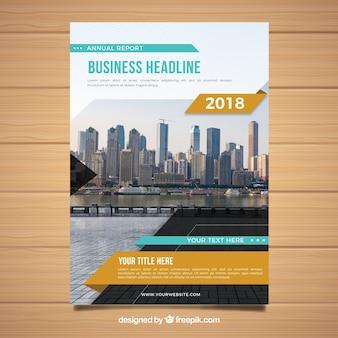 Couverture moderne du rapport commercial 2018