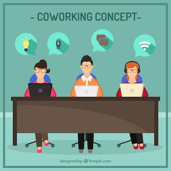 Coworking Concept Illustration plat