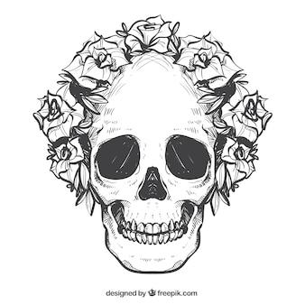 Crâne avec couronne dessinée à la main