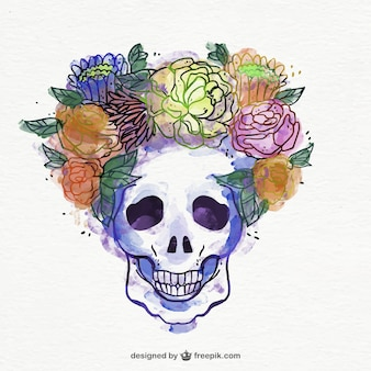 Crâne avec décoration florale aquarelle