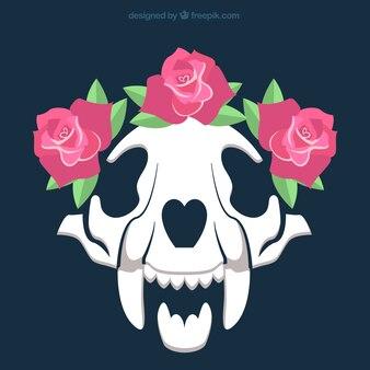 Crâne avec des roses décoratifs
