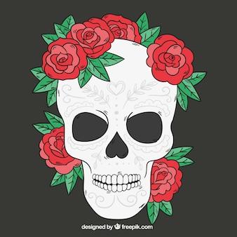 Crâne avec des roses dessinés à la main