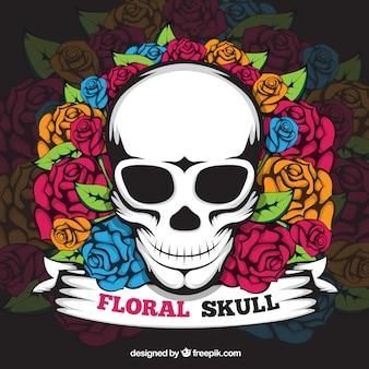 Crâne de fond avec des roses colorées