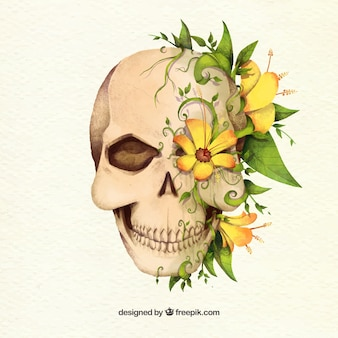 Crâne fantastique avec des fleurs jaunes décoratives