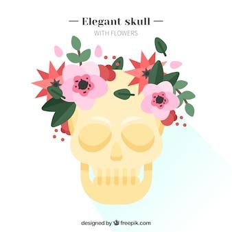 Crâne jaune avec des éléments floraux en design plat