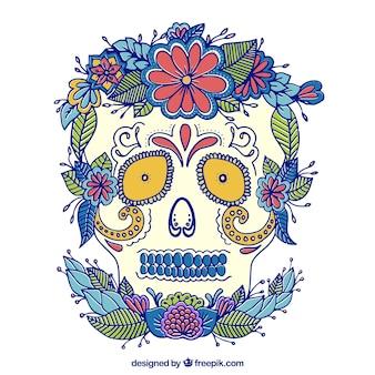 Crâne mexicain fleuri dessiné à la main