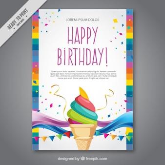 Crème carte d'anniversaire de glace