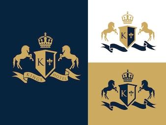 Crête de lettre de chevaux avec le bouclier et la couronne pour l'hôtel, finances, club de sport, logo de luxe