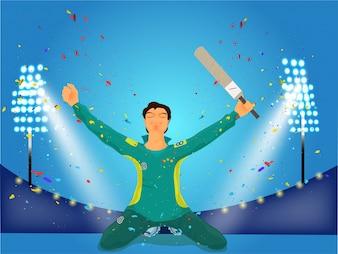 Cricket Batsman dans la pose gagnante avec la chauve-souris.
