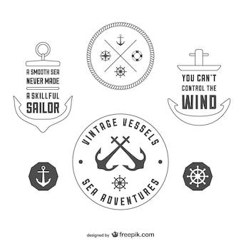 Cru modèle de badges nautiques