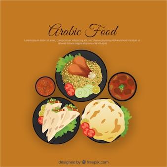 Cuisine arabe en vue de dessus