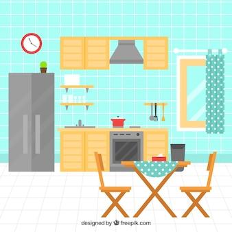 Cuisine plat avec des appareils électriques et des meubles en bois