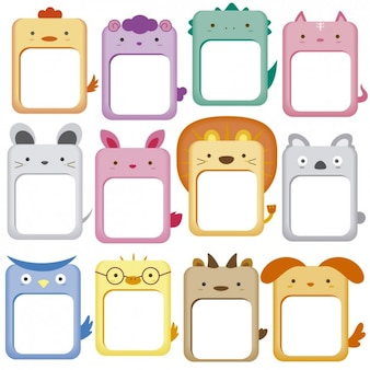 Cute animals cadres collection