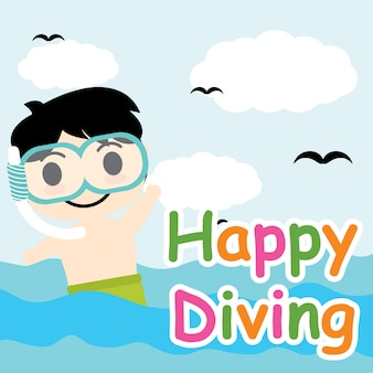 Cute Boy plonge dans la bande dessinée du vecteur de la mer, carte postale d'été, fond d'écran et carte de voeux, conception de T-shirt pour les enfants