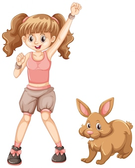 Cute girl with brown bunny