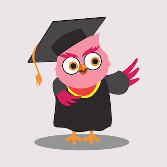 Cute Graduated Owl Personnages de dessin animé