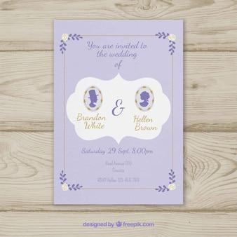 Cute iinvitation de mariage avec des silhouettes