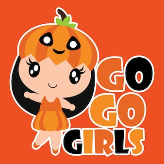 Cute Pumpkin Girl sourit illustration vectorielle de dessin animé pour la conception de cartes Halloween, le fond d'écran et le design de t-shirt pour enfant