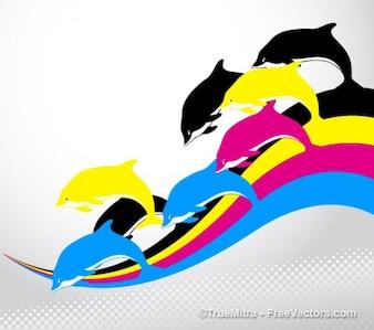 Dauphins sur rayures colorées