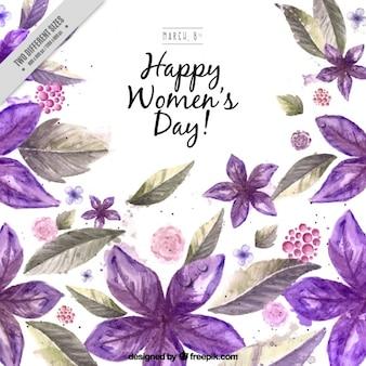 Day background Aquarelle fleurs violettes femme