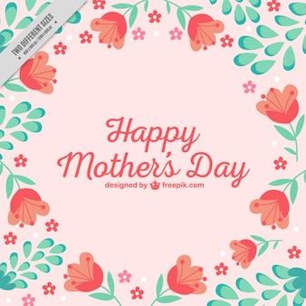 Day background Lovely Mère avec des tulipes