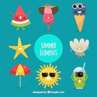De beaux caractères d'accessoires d'été