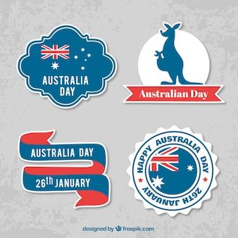 Décoratifs étiquettes jour australie avec des détails rouges