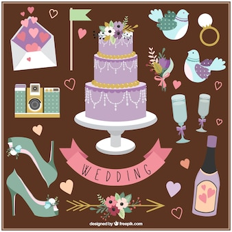 Décoration de mariage à la main dessinée et les éléments essentiels