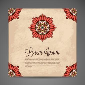 Décoration indienne élégante sur un fond sombre Design élégant Peut être utilisé comme carte de voeux ou invitation de mariage