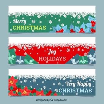 Décorations de Noël et des bannières de neige