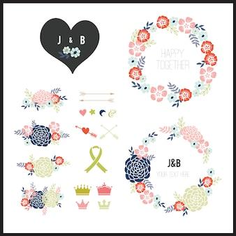 Decorative collection d'éléments floraux