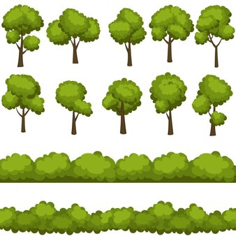 Définir des arbres drôles de bande dessinée et de buissons verts