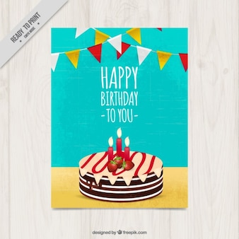 Délicieux anniversaire carte de gâteau