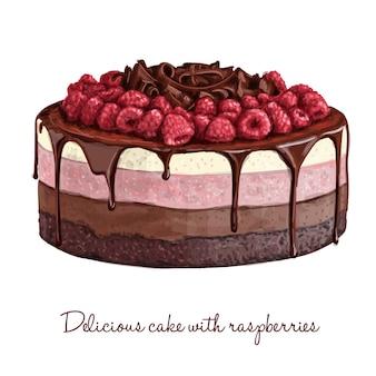 Délicieux gâteau aux framboises