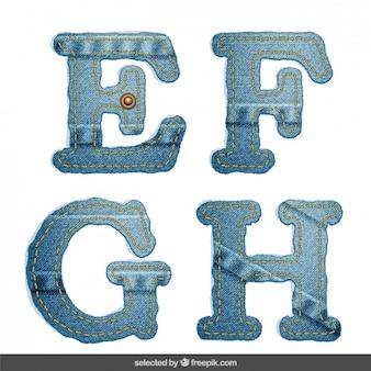 Denim alphabet EFGH