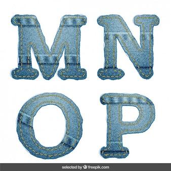 Denim alphabet MNOP