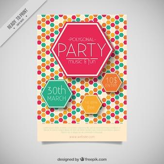 Dépliant Party avec des hexagones de couleur