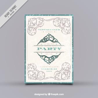 Dépliant Party avec une décoration ornementale dans le style vintage