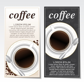 Dépliants de café mis