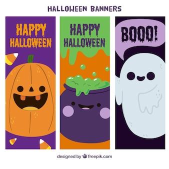 Des bannières de mignons personnages de Halloween