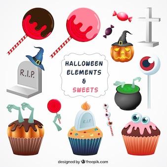 Des bonbons et des ornements de Halloween